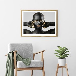 Quadro Decorativo Mulher Dourada Kieza