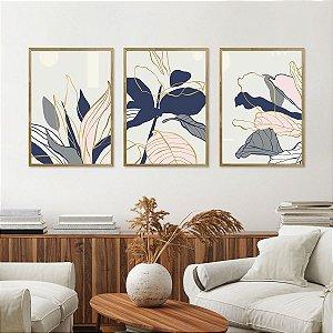 Kit Quadro Decorativo Folhas Azul e Rosa