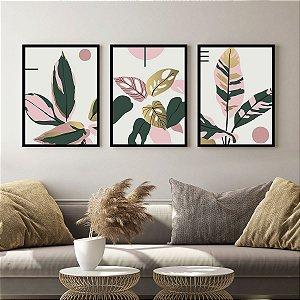 Kit Quadro Decorativo Folhas Rosa e Ouro