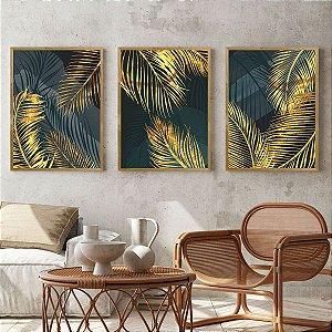 Kit Quadro Decorativo Folha Dourada Palmeira