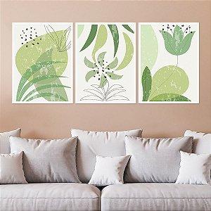 Kit Quadro Decorativo Folha Verde