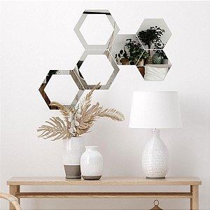 Espelho Decorativo Colmeia Hexagonal Vazada