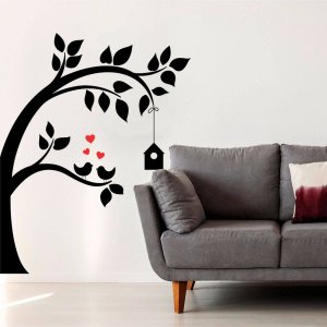 Adesivo Decorativo Árvore Com Pássaros