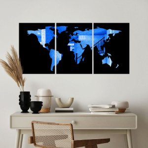 Kit Quadro Decorativo Mapa Mundi