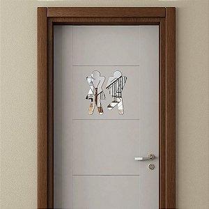 Placa Para Banheiro Espelhada