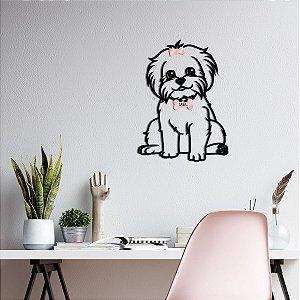 Quadro 3D Cachorro Maltês