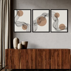 Kit Quadro Decorativo Linhas Abstratas