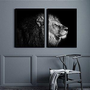 Kit Quadro Decorativo Leão Black