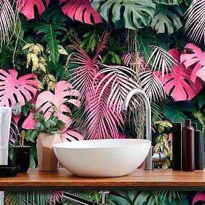 Papel de Parede Personalizado Jardim Vertical Rosé