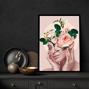 Quadro Decorativo Mulher E Rosas