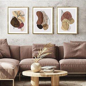 Kit Quadros Decorativos Folhas Abstratas