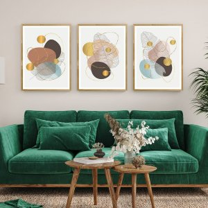 Kit Quadros Decorativos Folhas Abstratas Ouro