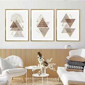 Kit Quadro Decorativo Ouro Triângulo