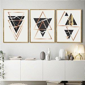 Kit Quadro Decorativo Triângulo Mármore