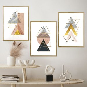 Kit Quadro Decorativo Ouro Triangular