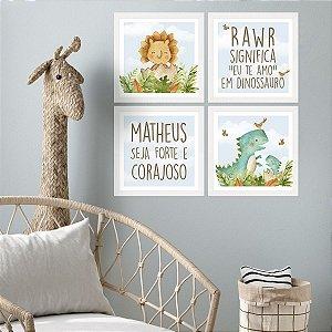 Kit De Placas Decorativas Safari Dino Baby