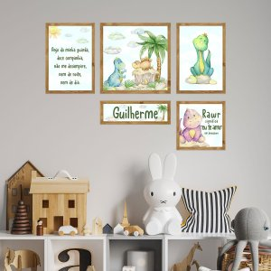 Kit de Placas Decorativas Dinos Cute Baby