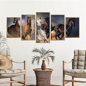 Quadro Mosaico Cavalos