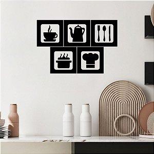 Kit Quadro Decorativo 3D Cozinha e Café