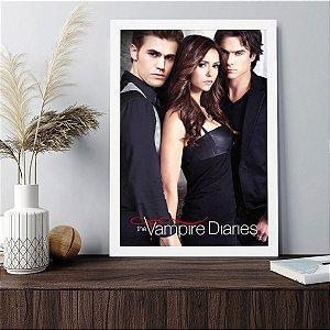 Placa Decorativa The Vampire Diaries Elena Damon e Stefan