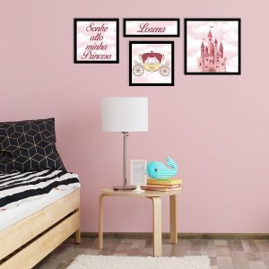 Kit de Placas Decorativas Menina Princesa