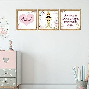 Kit de Placas Decorativas Nossa Senhora De Fátima Para Meninas