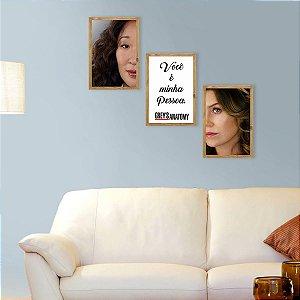 Kit de Placas Decorativas Greys Anatomy Meredith e Cristina