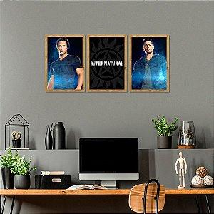 Kit de Placas Decorativas Série Supernatural Sam e Dean
