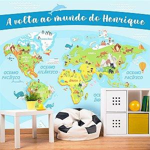 Papel de Parede Personalizado Mapa Mundi Kids