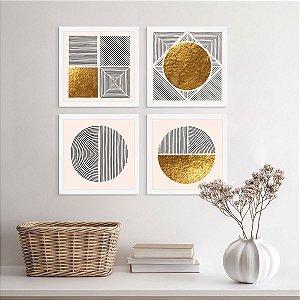 Placas Decorativas Dourado Abstrato