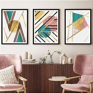 Quadros Decorativos Linhas Dourada
