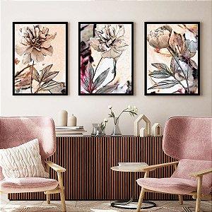 Quadros Decorativos Rosas Aquarelas