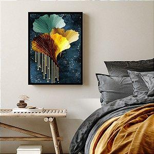 Quadro Decorativo Abstrato Gotas Douradas