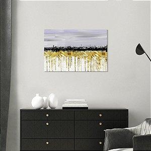 Quadro Decorativo Abstrato Tintas Douradas Com Preta