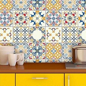 Adesivo de Azulejo Hidráulico em Tons de Azul, Amarelo e Vermelho