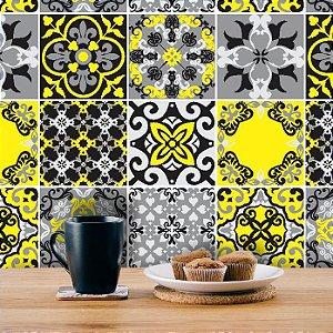 Adesivo de Azulejo Hidráulico Cinza, Preto e Amarelo