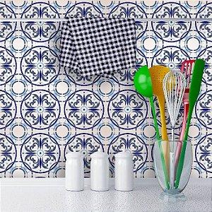 Papel de Parede Azulejo em Tons Diversos de Azul