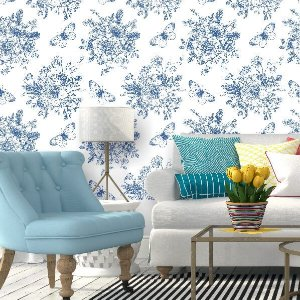 Papel de Parede Floral Azul