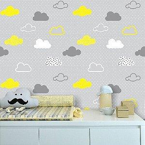 Papel de Parede Infantil Nuvens Cinza e Amarelo