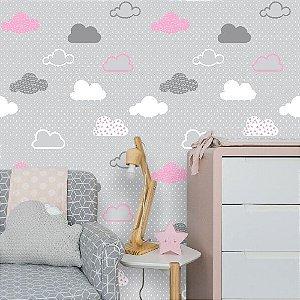 Papel de Parede Infantil Nuvens Cinza e Rosa