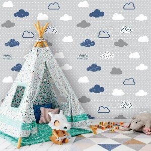 Papel de Parede Infantil Nuvens Cinza e Azul