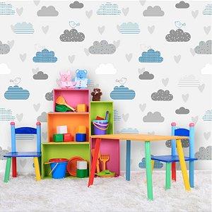Papel de Parede Infantil Nuvens Cinza e Azul com Passarinhos