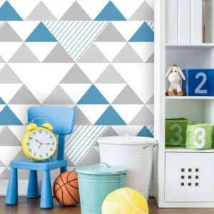 Papel de Parede Geométrico Triângulos Cinza e Azul