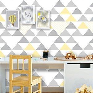 Papel de Parede Geométrico Triângulos Cinza e Amarelo