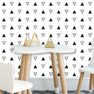 Papel de Parede Geométrico Triângulos Preto
