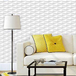 Papel de Parede Geométrico 3D Branco e Cinza