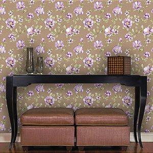Papel de Parede Floral Lilás e Fundo Marrom