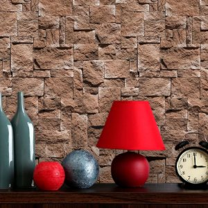 Papel de Parede Pedras Marrom Rustica