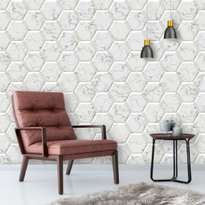 Papel de Parede Geométrico 3D Hexagonal Mármore