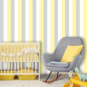 Papel de Parede Listrado, Amarelo, Branco e Cinza